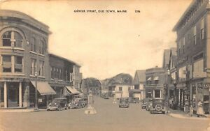 VTG-1930s-POSTCARD-CENTER-STREET-DOWNTOWN-BRIDGE-HARDWARE-OLD-TOWN-MAINE-ME-B5