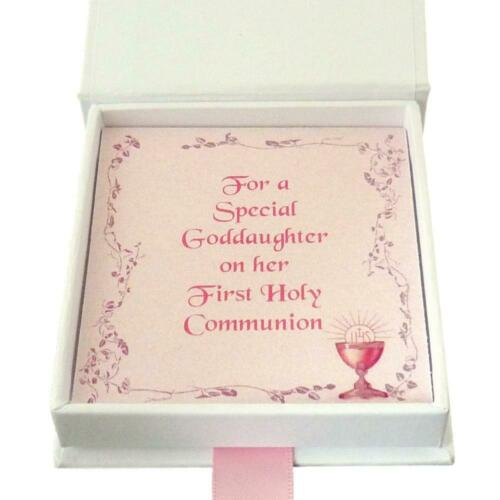 First Holy Communion Day Girls Necklace Gift for Daughter etc Cross in Heart