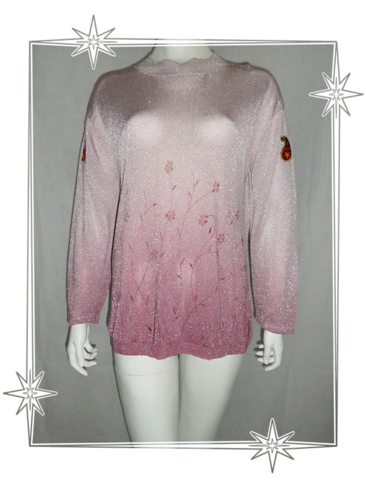 A  - Beau Pull Habillé pink Dégradé silveré Fleurs Fred Sabatier size L