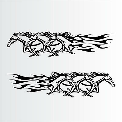 """2-27/"""" x 8/"""" Truck or Trailer Stickers Horse Flames Vinyl Decals for Car"""