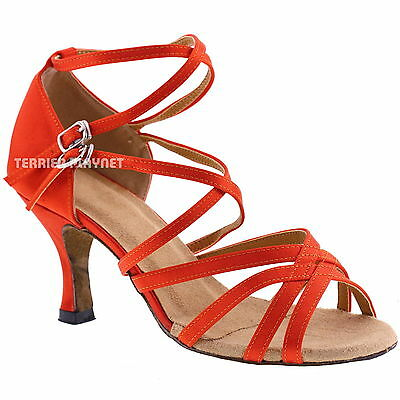 TPS Orange Satin Latin Ballroom Salsa Custom-made Dance Shoes D311