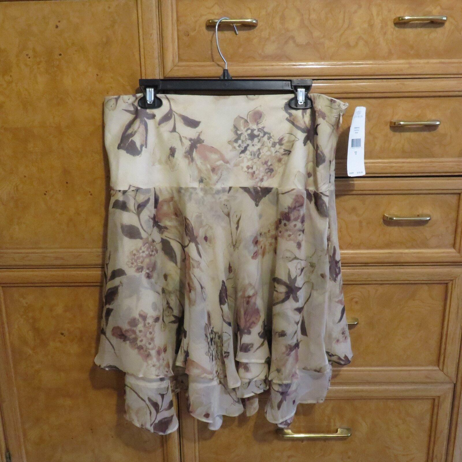 Women's Lauren Ralph Lauren tan floral skirt size 10 brand new NWT  125
