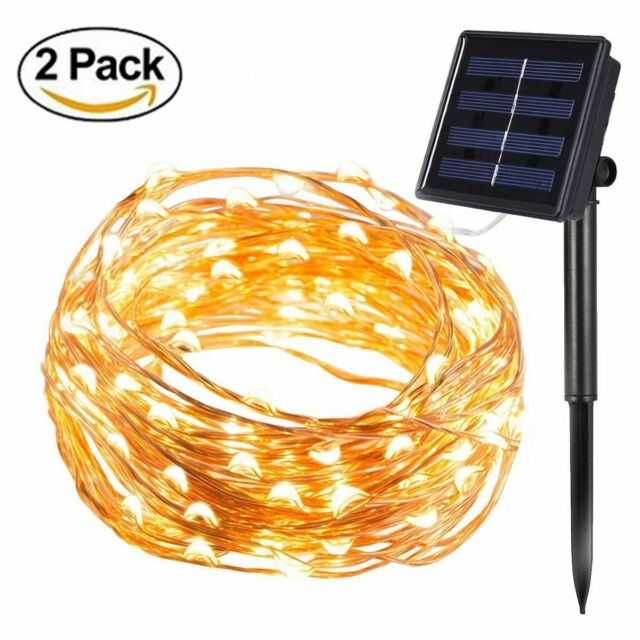 [2 Pack] BOLWEO Solar Powered String Lights,Solar Fairy Lights,Warm White,16.4Ft