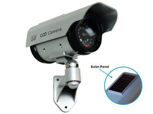 Solar Kamera Überwachungskamera Attrappe Alarmanlage Fake Dummy LED CCTV Camera