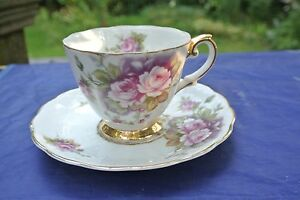 Beautiful Ceramic Cup and Saucer ~White with Roses
