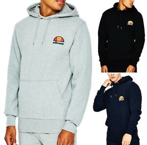 6641e953 Details about ellesse Mens Cotton Overhead Toce Hooded Sweatshirt Top Black  Blue Hoodie