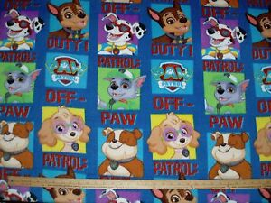 fleece fabric paw patrol off duty skye marshall chase rubble cartoon
