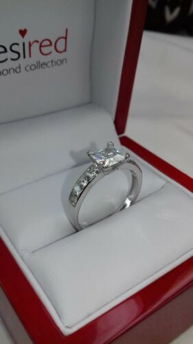 Size Q, 925 Sterling silver princess cut solitaire engagement ring Video2#JW1