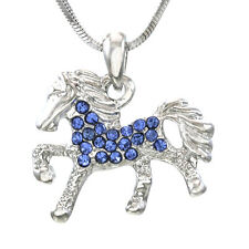Blue Pendant Necklace Horse Pony Mustang Western Cowboy Cowgirl Women Girl Charm