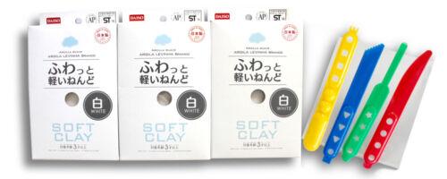 Daiso Soft Clay White 3 packs and Original Plastic Modeling Tool 4 piece Set