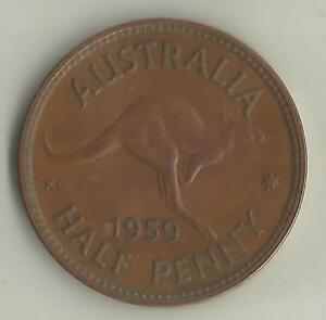 AUSTRALIA-1959-QUEEN-ELIZABETH-II-HALF-PENNY-d-COIN-UNC