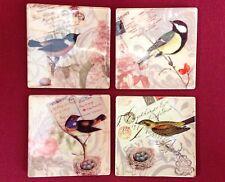 Set of 4 Ceramic Bird Coasters Shabby Chic Vintage Home Gift