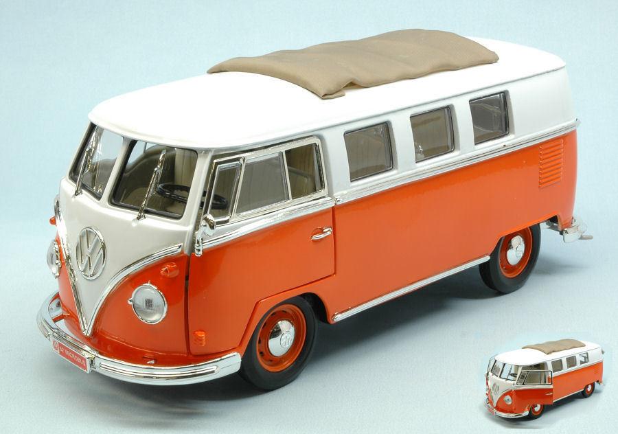 Volkswagen vw microbus 1962 w  Orange blanc roof 1 18 model yat ming  magasin fashional à vendre