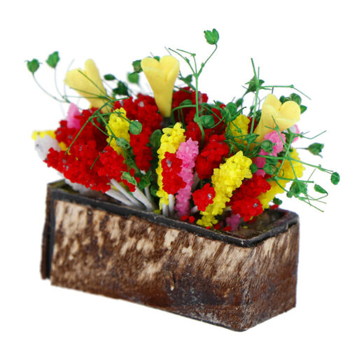 1//12Dollhouse miniature plant multicolor flower with wood potgarden accessoryCWY