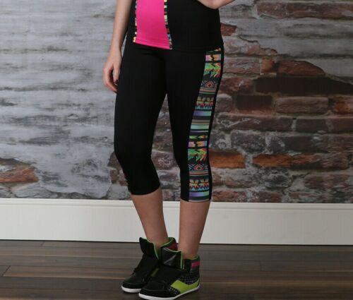 Size 8 Brand New South Beach Black Leggings 3//4 Length