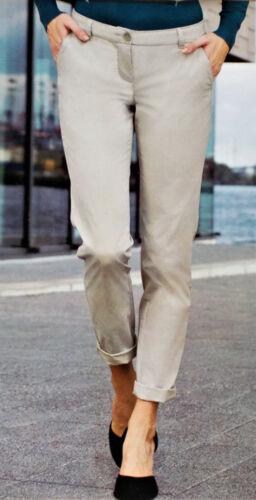 Damen Chinohose Chino Hose Freizeithose Gr.36 38 40 42 44 46 d.blau//beige NEU