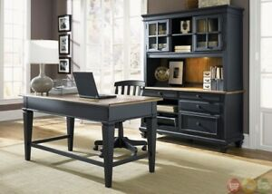 Image Is Loading Bungalow Black Executive Home Office Furniture Desk Set