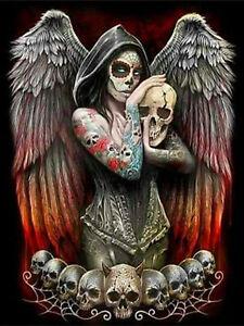 Full-drill-Diamond-Painting-Angel-Girl-Makeup-Skull-Home-Decor-Handicraft-6395X