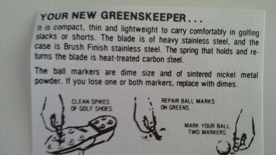 Andet golfudstyr, Greenskeeper