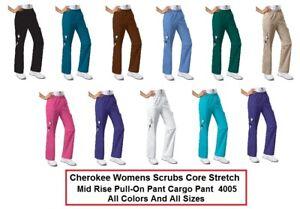 4005 Cherokee Workwear Stretch Women/'s Mid Rise Pull-On Cargo Scrub Pant