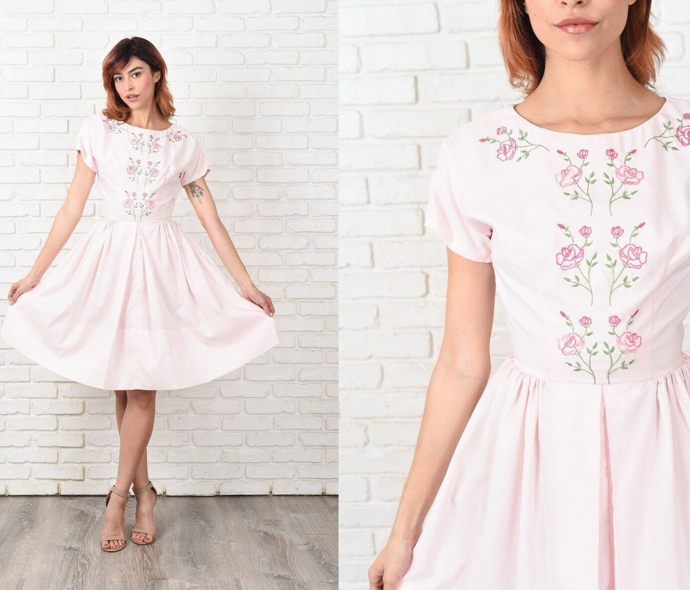 Vintage 60s Pink A Line Dress Embroidered Floral Short Sleeve XXS