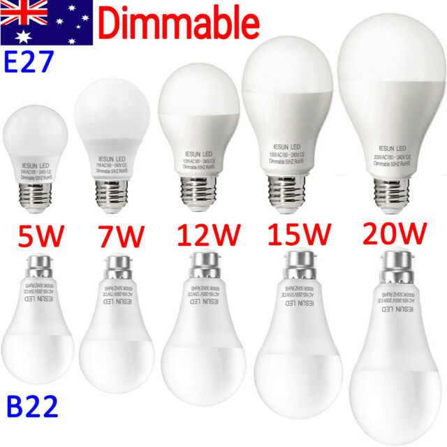 Dimmable LED Bulb B22 E27 5/7/9/12/15/18/20W Bayonet Edison Lamp Globe Light CE