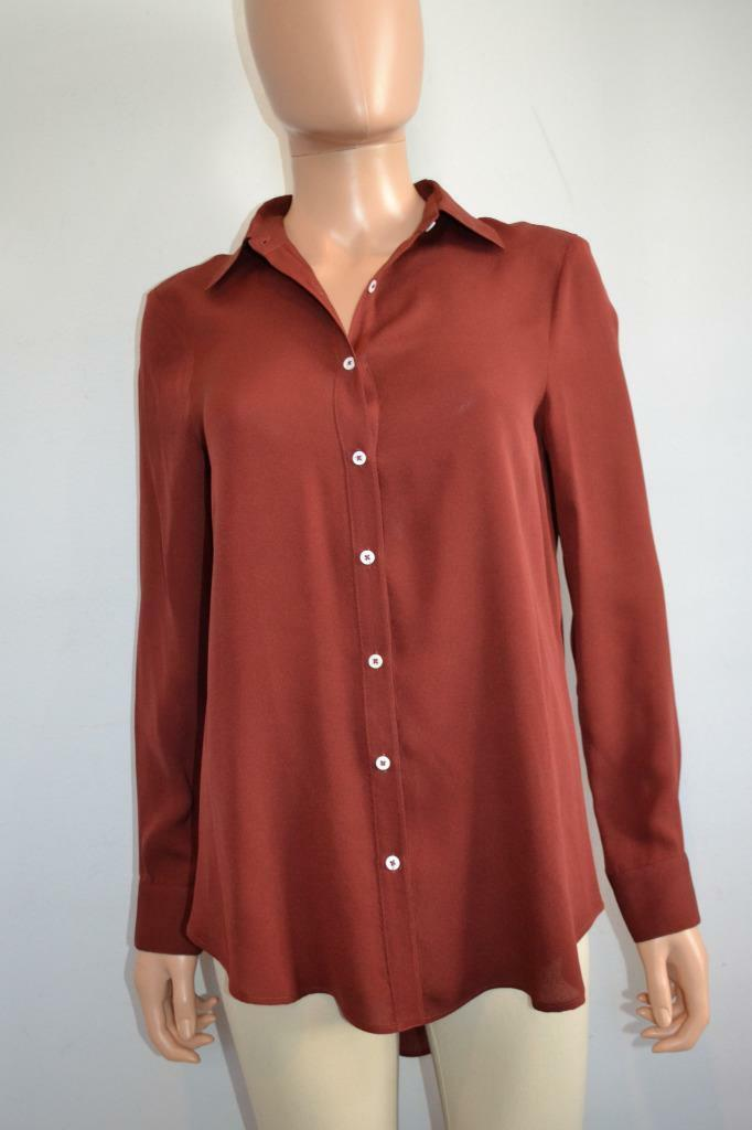 The Row Brick rot Silk Button Front Blouse Shirt, Größe XS