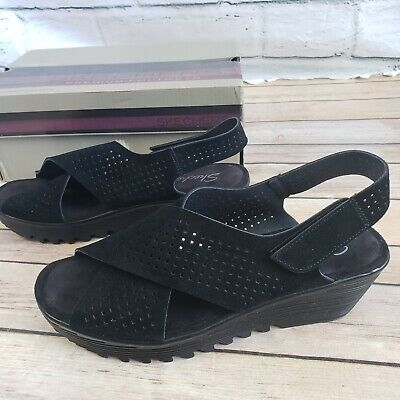 Skechers Petite Parallel Plot Sandal Wedge Heel Black Women Size 8 | eBay