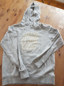 Hoodie-164-Tolles-Sweatshirt-mit-Kapuze-grau-mit-Print-langarm