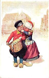 Junge und Mädchen, Holzschuhe, sign. K. Feiertag, um 1910/20 - Deutschland - Junge und Mädchen, Holzschuhe, sign. K. Feiertag, um 1910/20 - Deutschland