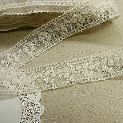 3 Yds  VTG Style Embroidery scalloped Tulle Mesh Net Lace Trim 3.3cm Wide