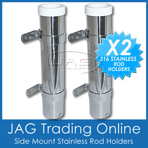 2-x-316-MARINE-STAINLESS-STEEL-SIDE-MOUNT-BOAT-FISHING-ROD-HOLDERS-WHITE-INSERTS