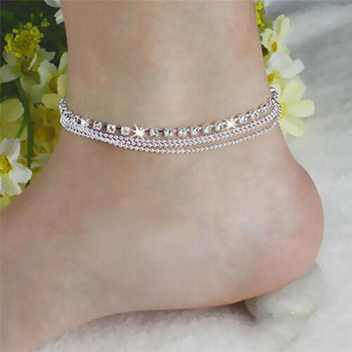 Silver Tassels Crystal Rhinestone Bead Chain Ankle Bracelet Foot Anklet JewelryH