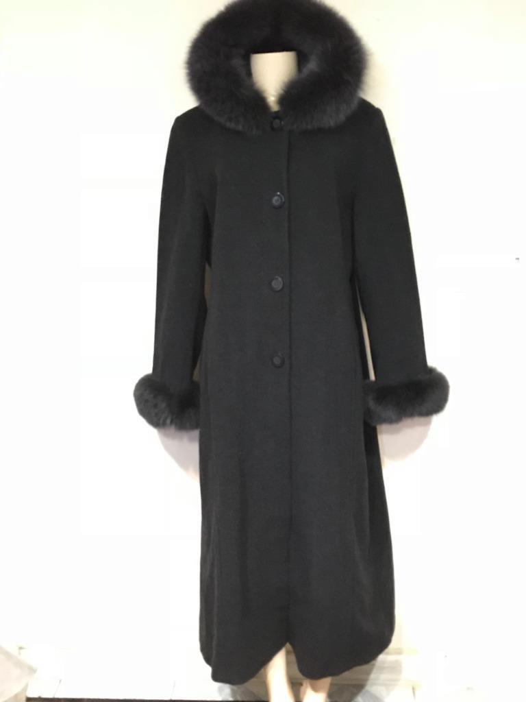 Marvin Richards Women's Winter Xmas hood fox fur Cashmere&wool long coat size 14