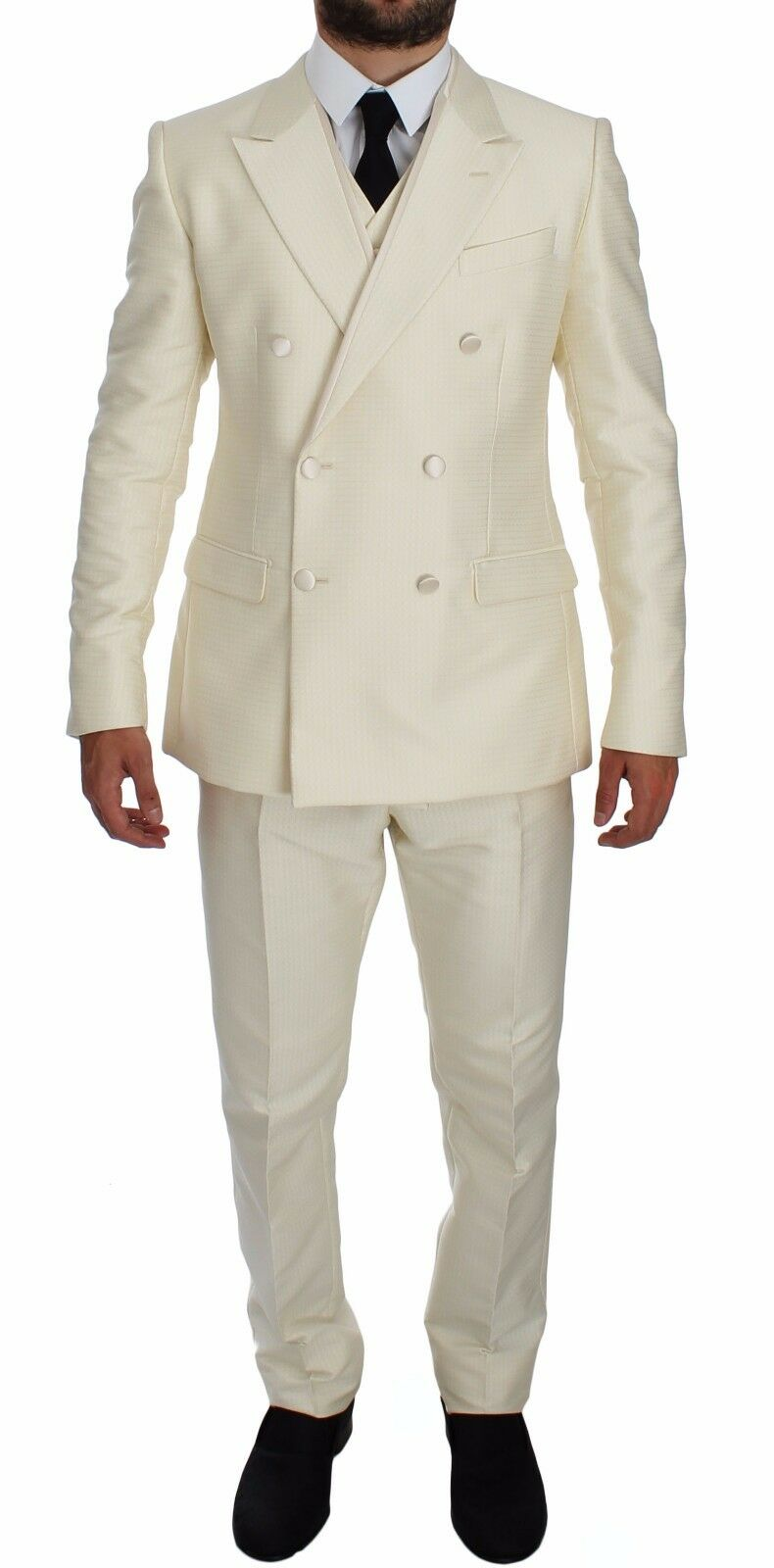 NWT 3200 DOLCE & GABBANA Weiß Slim Double Breasted 3 Piece Suit EU52 / US42/XL