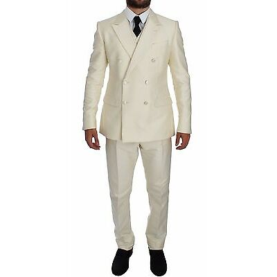 NWT $3200 DOLCE & GABBANA White Slim Double Breasted 3 Piece Suit EU50 / US40 /L