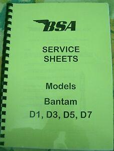 bsa workshop manual service sheets for bantam d1 d3 d5 d7 1949 rh ebay com au workshop manual 1964 triumph spitfire workshop manual 1999 dodge caravan
