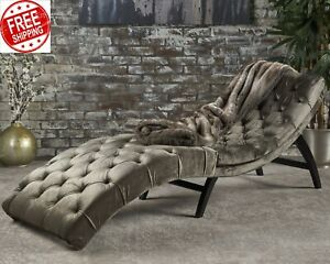Details about Chaise Lounge Indoor Chair Tufted Velvet Gray Curved Daybed  Lounger Sofa Couch