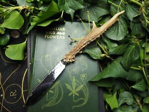 Upcycled Athame with Stag Antler Handle - Pagan, Wiccan, Ritual, Witchcraft