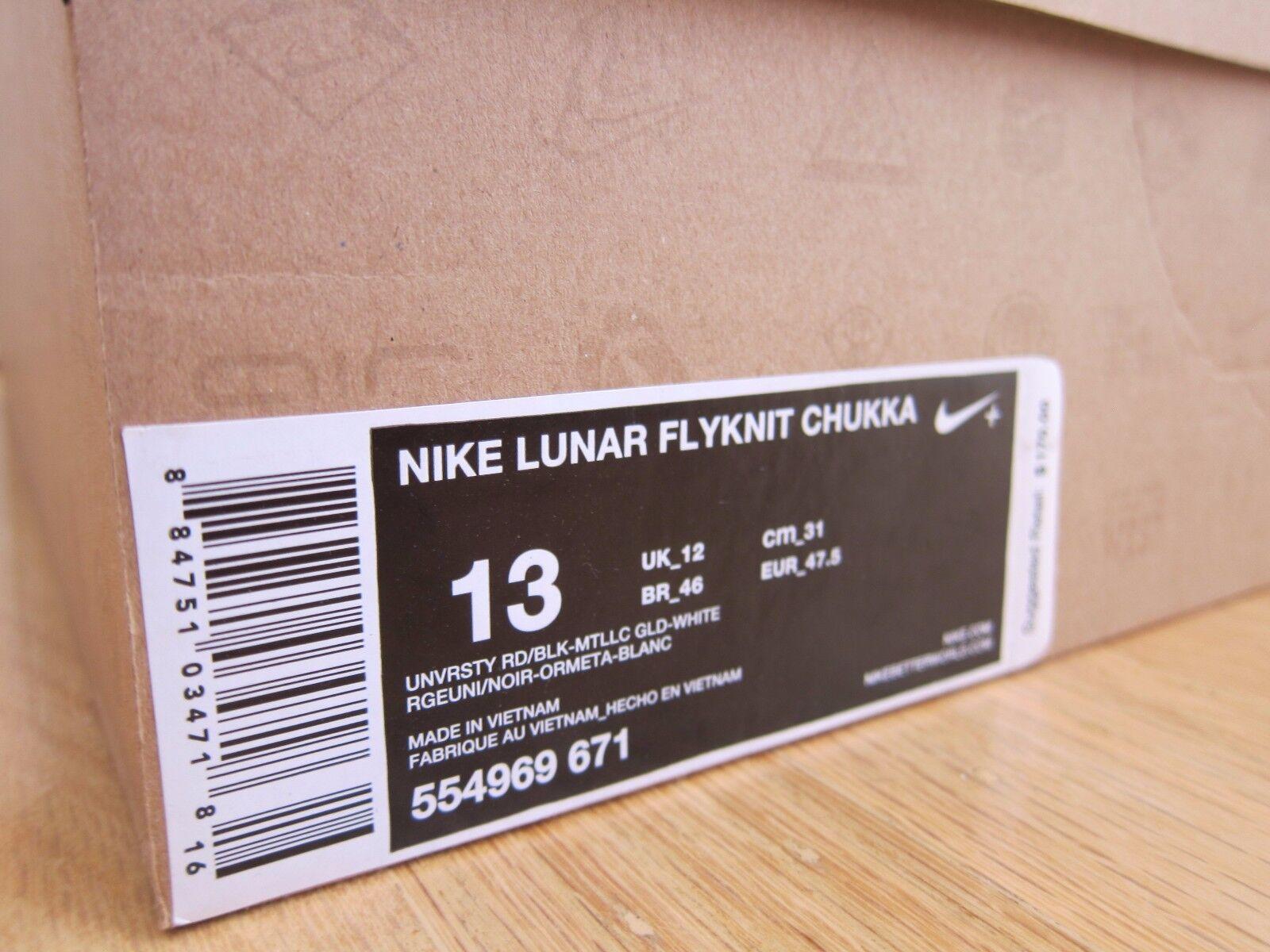2012 chukka, nike lunar flyknit - chukka, 2012 universität rot - weiße gold schwarze größe. f86653