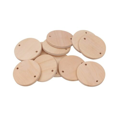 30pcs Unfinished Wood Discs Coins Circles with Holes DIY Family Birthday Tag