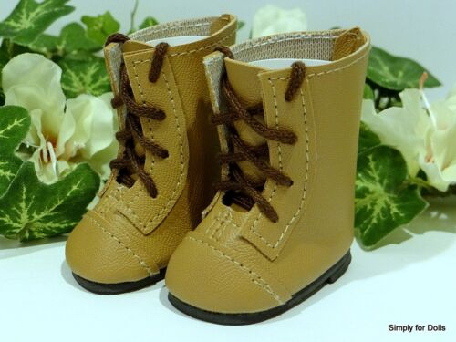 """TAN Lace-Up Tall DOLL BOOTS SHOES fits American Girl 14.5/"""" WELLIE WISHERS"""
