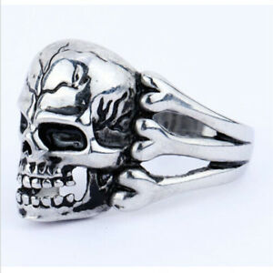 Men-039-s-Cool-Punk-Stainless-Steel-Fashion-Silver-Skull-Biker-Ring-Size-9-10-11-12