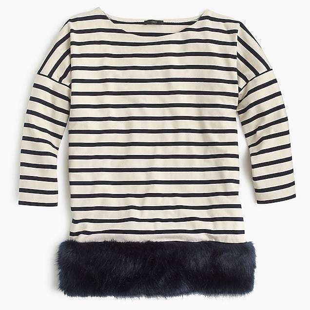J Crew Collection Striped tunic faux fur hem, Größe S M Small Medium