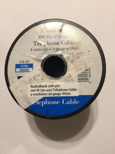 100 Ft Telephone Cable 26 Gauge New 4 Conductor AWM RadioShack 278-367