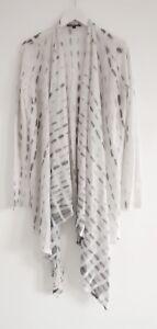 Eileen Cardigan Alpaca Fisher stampa seta Lightasair grigio bianco drappeggiato Szs New e dwR4nd