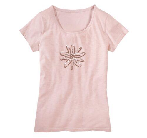 Rosa Gr Damen T-Shirt Glitzer Oberteil Muster Trachten Dirndl Pailletten M