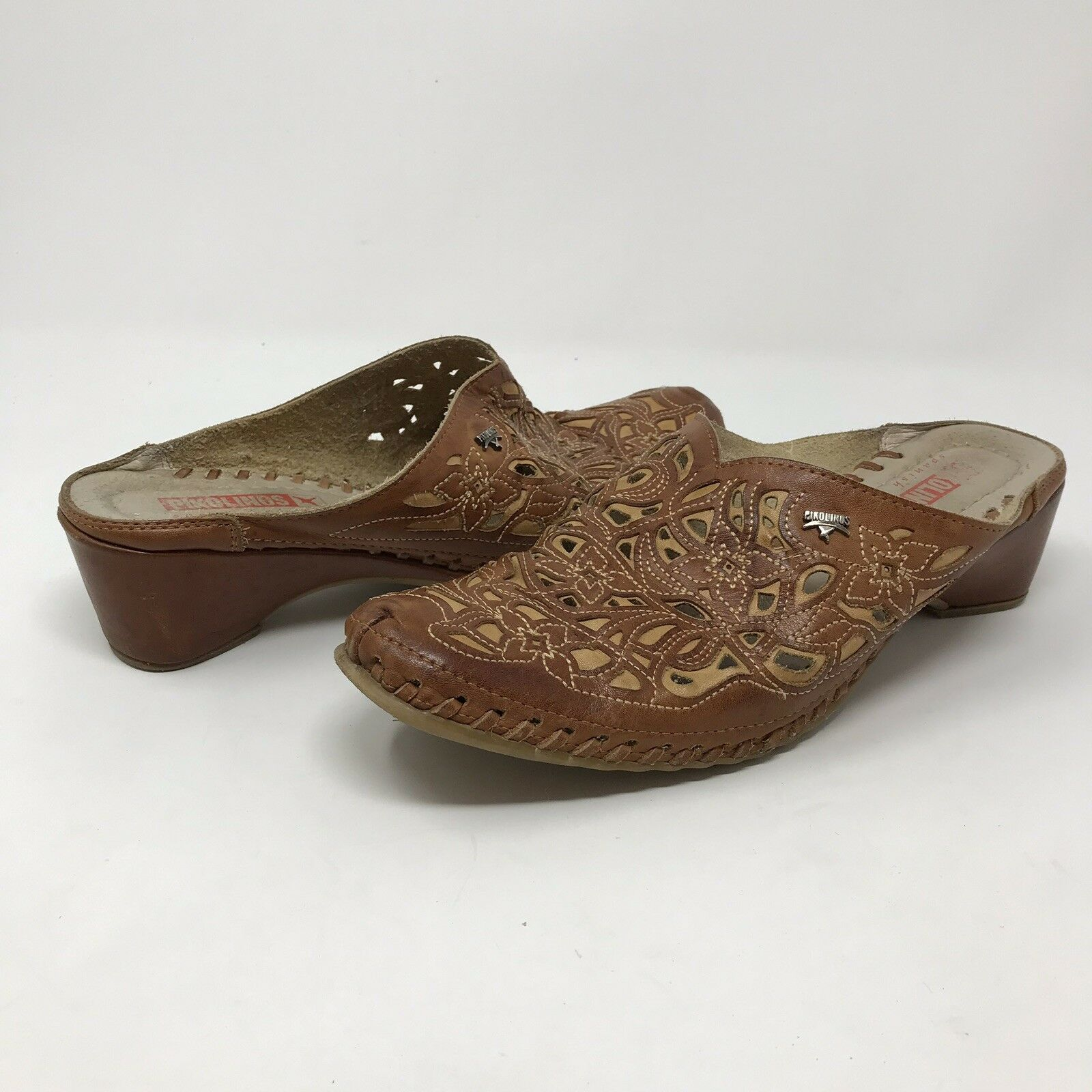 Pikolinos Brown Leather Floral Cut Out Mules Slip-On Heels US Size 7.5