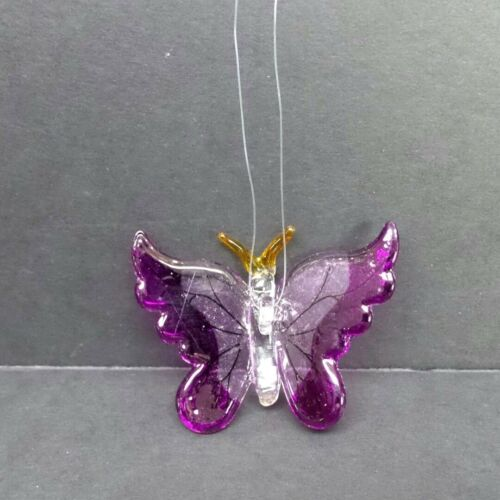 Hand Blown Glass Butterfly Ornament With Purple Wings D