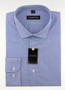 Alexander Hay Mens Formal Long Sleeve Cotton Shirts Classic Stripes /& Checks